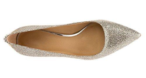 uBeauty,Damen Niedrige Absatz Büro Übergröße Pumps,Spitze Zehen Slip On Schuhe Silber Pailleten