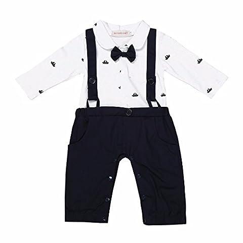 YiZYiF 1 tlg baby Strampler Smoking für Jungen Kleinkind Kleidung rompers Langarm Body Jumpsuit Spielanzug Outfit mit Fliege Marineblau 12-18 Monate