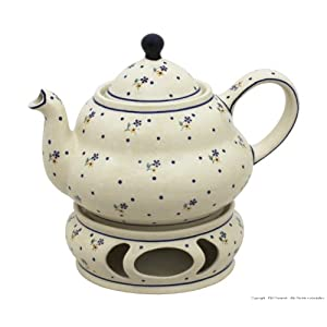 Boleslawiec Pottery Teepot 1.5 L with Warmer, Original Bunzlauer Keramik, Decor 111