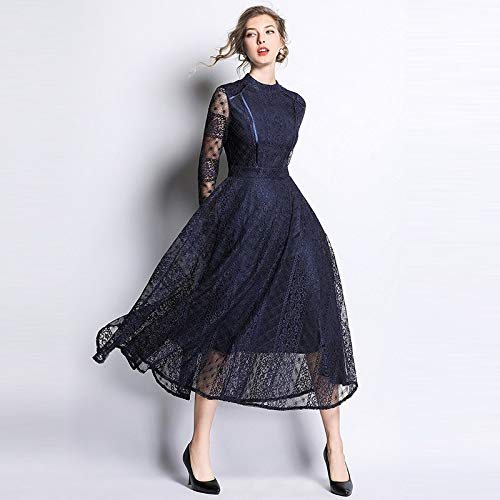 QUNLIANYI Abikleider Lang Dark Blue Lace Dress Frauen Floral Mesh Patchwork Midi Dresses Party Sexy Hollow Out Retro XL