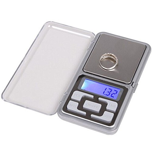 htfrgeds MINI Digitale Taschenwaage Feinwaage Küchenwaage LED-Hintergrundbeleuchtung-Anzeige, 200g x 0.01g Mini-Digital-Taschen-Skala für Küchen-Schmuck, Droge, Tee, Hefe, Kaffee und andere Mini-digital-tasche