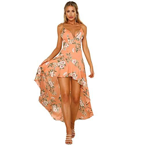 Elecenty Damen V-Ausschnitt Strandkleid Irregulär Sommerkleid Rock Mädchen Blumen Drucken Abendkleider Kleider Frauen Mode Ärmellos Kleid Minikleid Knielang Kleidung -