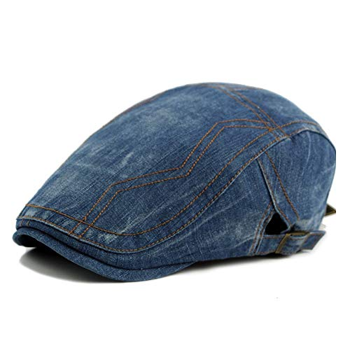 Baskenmütze Mütze Frühling Sommer Männliche Wäsche Alte Cowboyhut Weibliche Universal Ente Zunge Barett Retro Hut Hut (Farbe : Blau, Größe : 56-58CM) -