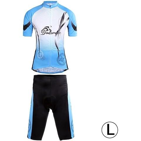 Ciclo Corto Mangas De Jersey + Pantalones Cortos Fijados Para Los Hombres (Tamaño: L)
