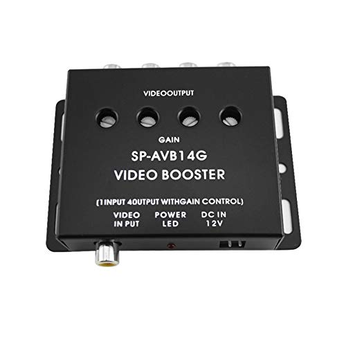Video-signal-booster (BEESCLOVER 12 V 1 bis 4 Ausgang RCA Auto DVD Video Booster Verteiler Signal Booster Box Variable Level Control schwarz)