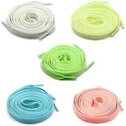 Cordón luminoso para zapatos de 5 pares Brillan en la oscuridad Cordones luminosos fluorescentes coloridos, longitud 120cm y 5 colores
