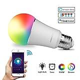 JOMARTO Smart LED Lampe, WIFI Lampe E27, 9W, 800LM Smart Lampe Wifi Smart Birne RGBW dimmbar Wlan Glühbirne, APP gesteuert Tageslicht & Nachtlicht, weißes und buntes Licht, kompatibel mit Google Home, Amazon Alexa