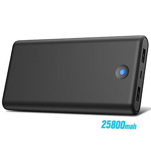 Trswyop Powerbank 25800mAh Externer Akku, [Buntes LED Anzeige Design] Power Pack hohe Kapazität Tragbares Ladegerät mit 2 USB-Ausgängen Schnellladung Power Bank für Handy und Tablet