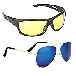 Elligator NightDrive Night Vision Anti Glare Wrap Unisex Sunglasses Pack Of 2