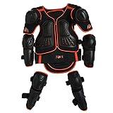 Armadura de motocicleta para niños, protector de espalda, pecho, columna vertebral, hombro, brazo, codo, rodilla, protector de motocross, esquí, patinaje, chaleco de protección, 3 colores, rojo, small