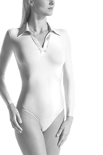 Oroblu satinee Body con maniche lunghe Bianco