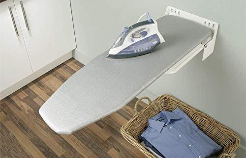 Gedotec Bügelbrett Klappbar IRONFIX Bügeltisch-Bezug mit bunten Streifen | Klapptisch 180° drehbar | Stahl weiß | Wand-Bügelbrett für Wandmontage | MADE IN GERMANY | 1 Stück mit Befestigungsmaterial