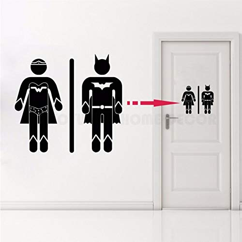 Your boy-HT Decalcomania per la casa smontabile Decalcomania per Porta del Bagno da Bagno Superman e Super Girl WC Sign Vinyl Sticker Toilet 20X20Cm