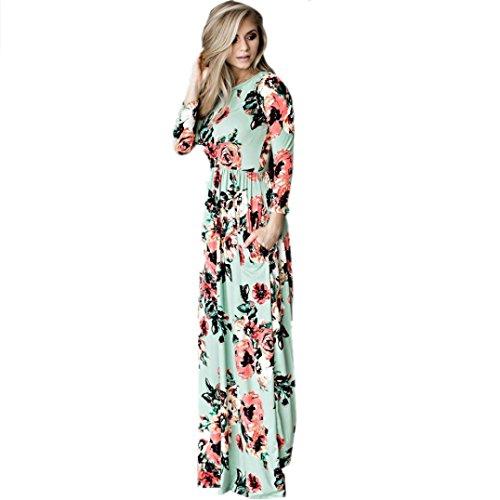 Robes, Malloom® Femmes imprimé floral robe à manches longues Boho dames soirée longue Maxi robe Vert