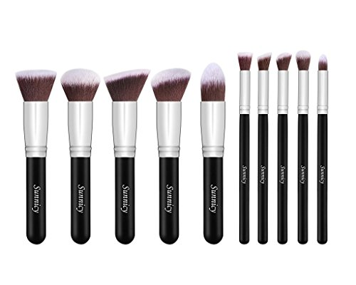 Pinselset 10 Stück Kosmetik Pinselset Kabuki Make-up Bürsten Werkzeug Zubehör Kit Set für Grundierung (Puder, Cremige oder Flüssige )...