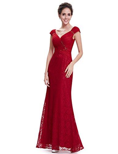 Ever Pretty Damen Elegant V-Ausschnitt Lacy Lang Abendkeid Cocktail Kleid 08604 Rot