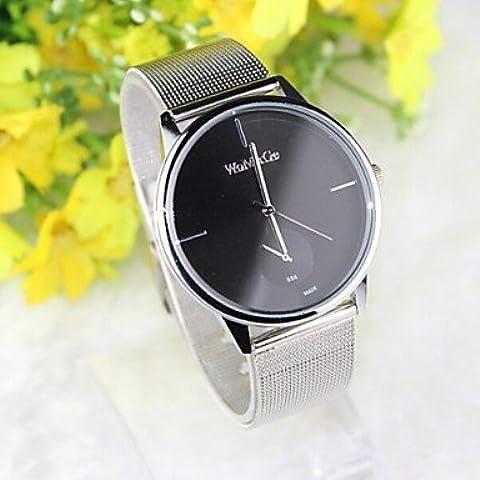 Relojes de marca womage maglia di acciaio inossidabile orologio analogico braccialetto di moda della signora delle donne ( Colore : Nero )