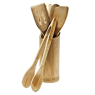 Relaxdays 7 Piece Bamboo Kitchen Utensils Set, Pieces about 30 cm Long, Includes Spatula, Spoon, Fork, Salad Tongs, Holder, Natural Brown