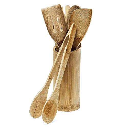 Relaxdays Küchenhelfer Set Bambus 7-teilig 30 cm lang als Kochlöffel Set aus Holzlöffel Pfannenwender (je 2) und Salatzange Gabel mit Halter bzw. Ständer für Kochbesteck als Küchenutensilien, natur
