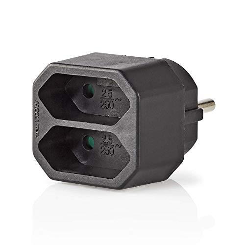 TronicXL Mini Steckdosenleiste 2-fach Euro Verteiler steckdose schwarz 2er 2fach Adapter Stecker Euro Weiche