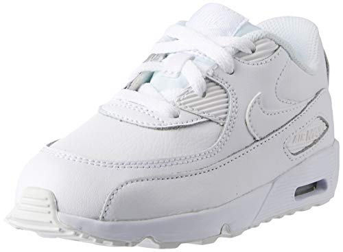 Nike Unisex-Kinder Boys Air Max 90 Leather (Td) Traillaufschuhe, Weiß White 100, 25 EU