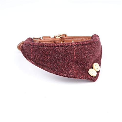HCHD Niedliches Hundehalsband Aus Leder Mit Hundeleine, Kariertes Hundekopftuch Verstellbar (Color : Red Bandanas, Size : M) (Und-kragen-kariertes Hundeleine)