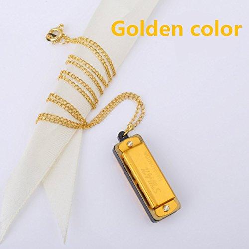 New Cute Swan Mini Harmonica 4Loch 8Tone Halskette Golden Farbe mit Box
