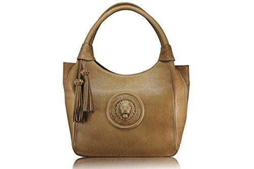 FERETI 5 FARBEN Hohe Qualität echtes Leder Damen Henkeltaschen, Schultertaschen, Bolt-Bags, Handtaschen, Umhängetaschen, Soft Leder Braun (dunkelbraun) BRAUN CAMEL