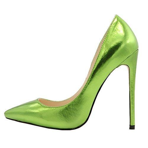 MERUMOTE Damen Spitze Stilett Matte Kleid-Partei Hochzeit Pumps EU 35-46 Green