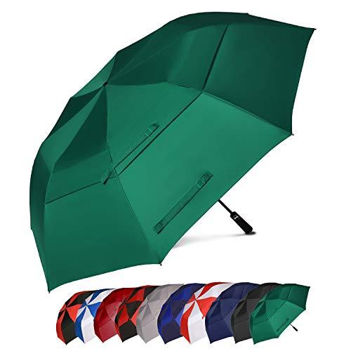 Amazon Marke: Eono Essentials 158 cm Tragbarer Golfschirm Großer, winddichter Schirm mit doppeltem Windschott - Automatisches Öffnen Stabiler, übergroßer Regenschirm Grün