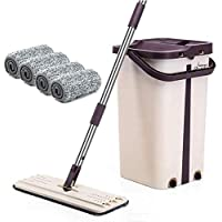 BePrincess Squeeze Flat Mop, 1 Bucket, Wet Dry Floor Cleaning Hand Free, 4 Reusable Mop Pads, Stainless Steel Handle