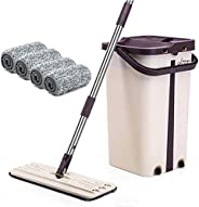 BePrincess Squeeze Flat Mop, 1 Bucket, Wet Dry Floor Cleaning Hand Free, 4 Reusable Mop Pads, Stainless Steel