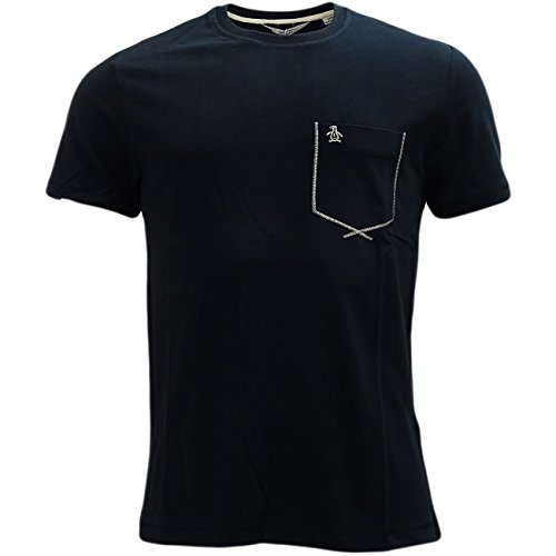 Original Penguin Uomo Flatlock Pocket Logo T-Shirt, Nero, Small