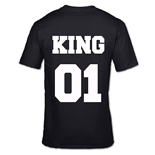 King 01* * * O * * * Regina 01Tshirts prima edizione regalo di San Valentino per lui e sm-xxl BLACK KING L/ 112 cm