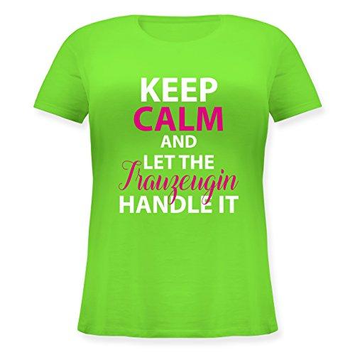 Shirtracer JGA Junggesellinnenabschied - Keep Calm Trauzeugin - Lockeres Damen-Shirt in Großen Größen mit Rundhalsausschnitt Hellgrün