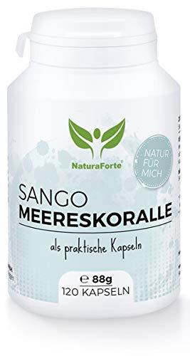 NaturaForte Sango Meereskoralle Kapseln 120 Stück, Natürliche Quelle für Calcium (20%) Magnesium (10%) im körpereigenen Verhältnis von 2:1, Sango-Koralle, Hochdosiert, Kein Raubbau -