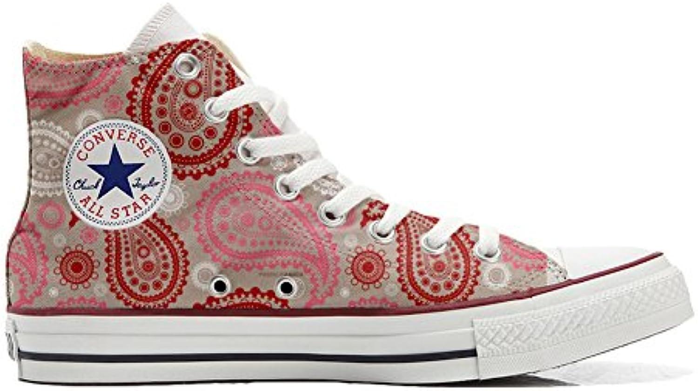 Converse Personalizzate all Star scarpe da ginnastica Unisex (Prodotto Artigianale) rosso rosa Paisley | Good Design  | Uomo/Donne Scarpa
