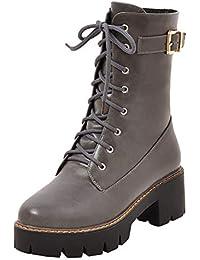 76fde1ca8ea8c0 AIYOUMEI Damen Schnürstiefeletten Blockabsatz Plateau Stiefeletten mit  Schnallen Ankle Boots zum…