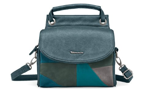 TAMARIS Handtasche, DALIA, Boston Bag, Patchwork-Style, 3 Farben: schwarz comb, ocean blau comb oder mocca braun comb, Farbe:ocean blau (Braun Patchwork Leder Bag)