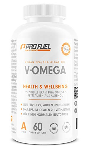 Vegan Omega 3 [1.100 mg] Omega-3-Fettsäuren aus Algenöl - 300 EPA and 600 DHA hochdosiert - Hochwertiges Omega 3 in Kapseln (vegan) mit Analysezertifikat: besser als Fischölkapseln! V-OMEGA 60 Kapseln