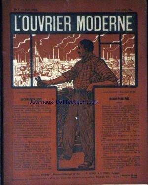OUVRIER MODERNE (L') [No 7] du 01/06/1914 - LA FORCE MOTRICE PAR LES MACINES - ELEMENTS ET ORGANES DE MACHINES - CHAUFFAGE ET VENTILATION - AMENAGEMENTS D'USINES - ELECTRICITE PRATIQUE - ETUDE DES MECANISMES - LES MACHINES APPAREILS ET PROCEDES DIVERS - ANALYSES DE BREVETS ET INVENTIONS.