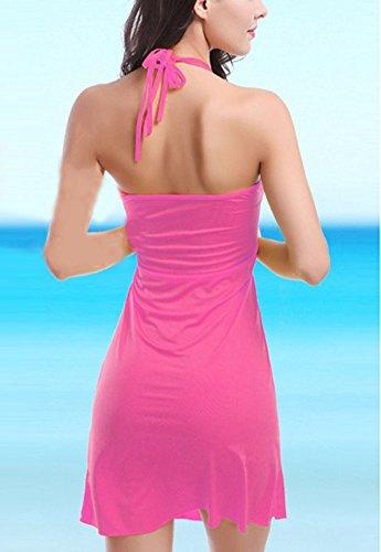 Donna Abito Femminile Copricostumi e Parei Vestito Dalla Spiaggia Colore Puro Pesco Rosso