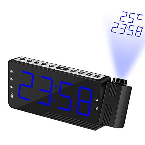 Sunsbell Projektion Uhr, Radio Control-Projektions-Taktgeber, Atomic Radio Controlled-Projektions-Wecker w/Datum, Temperatur, Woche, 3 Alarm, Hintergrundbeleuchtung