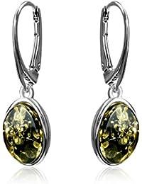 Green Amber Sterling Silver Oval Leverback Earrings