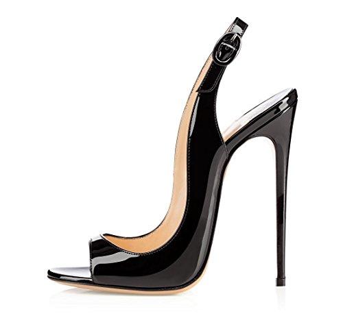 EDEFS Damenschuhe 120mm Peep Toe Slingback High Heels Sandalen mit Schnalle Öffnen Zehe Stiletto Schuhe Schwarz 39 Heel Peep Toe
