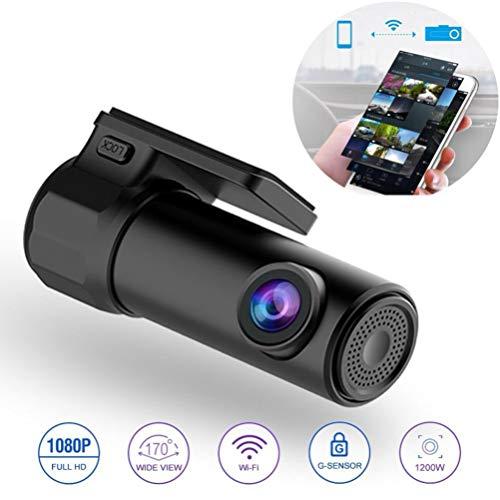 PXQ Mini Smart WiFi Dash Cam Kamera FHD 1080P Armaturenbrett Auto DVR Videorecorder 170 ° Weitwinkel Wireless APP Control Monitor mit Bewegungserkennung und Loop-Aufnahme,Black (Cam 118 Dash)