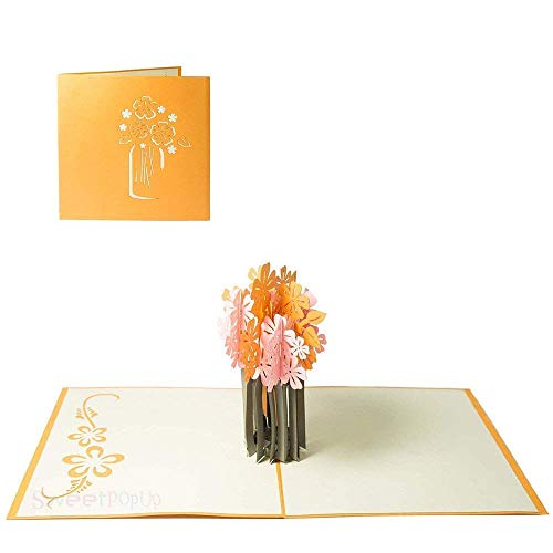 Biglietto d'auguri per fiori buona fortuna ragazza per lei auguri festa della mamma congratulazioni grazie guarisci buono - vaso di fiori 3d pop-up 078