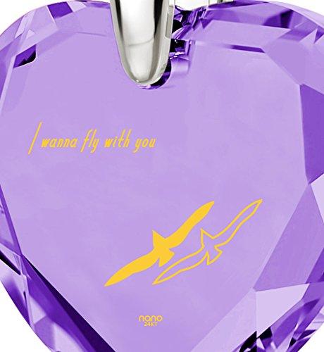 Bijoux Coeur - Pendentif Romantique en Argent 925 avec I Wanna Fly With You inscrit à l'Or 24ct sur un Zircon Cubique en Forme de Coeur, 45cm - Bijoux Nano Violet Clair