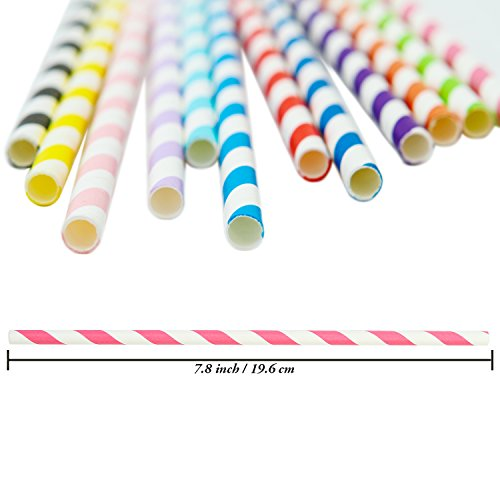 Keriber 300 Pieces Paper Straws Biodegradable Drinking Stripe Straw with  Bulk Drinking Straws Decorations for Wedding Supplies and Party Favors, 12