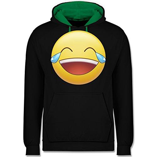 Statement Shirts - Tränen Lachen Emoji - Kontrast Hoodie Schwarz/Grün